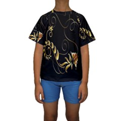 Butterfly Black Golden Kids  Short Sleeve Swimwear
