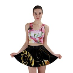 Butterfly Black Golden Mini Skirt