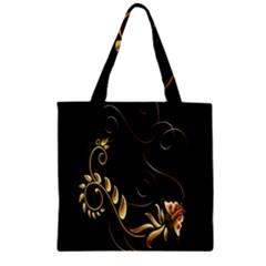 Butterfly Black Golden Zipper Grocery Tote Bag