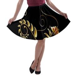 Butterfly Black Golden A-line Skater Skirt