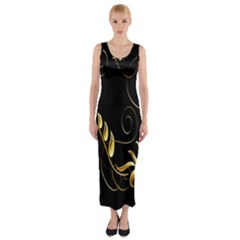 Butterfly Black Golden Fitted Maxi Dress