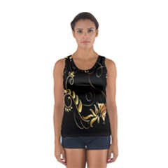 Butterfly Black Golden Women s Sport Tank Top