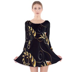 Butterfly Black Golden Long Sleeve Velvet Skater Dress
