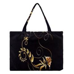 Butterfly Black Golden Medium Tote Bag