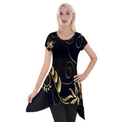 Butterfly Black Golden Short Sleeve Side Drop Tunic