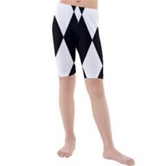 Chevron Black Copy Kids  Mid Length Swim Shorts