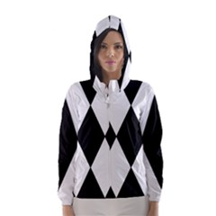 Chevron Black Copy Hooded Wind Breaker (Women)
