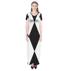 Chevron Black Copy Short Sleeve Maxi Dress