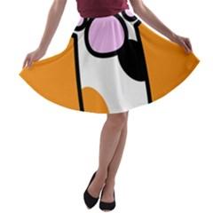 Cathand Orange A-line Skater Skirt