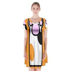 Cathand Orange Short Sleeve V-neck Flare Dress