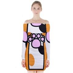 Cathand Orange Long Sleeve Off Shoulder Dress