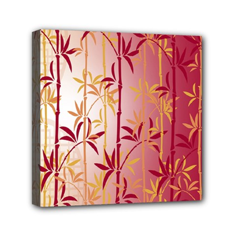 Bamboo Tree New Year Red Mini Canvas 6  x 6