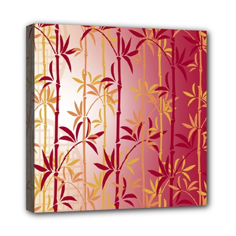 Bamboo Tree New Year Red Mini Canvas 8  x 8