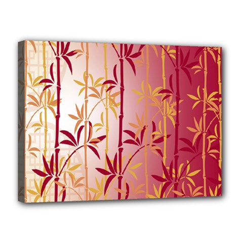 Bamboo Tree New Year Red Canvas 16  x 12
