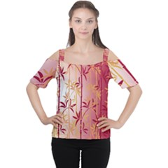 Bamboo Tree New Year Red Women s Cutout Shoulder Tee