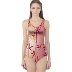 Bamboo Tree New Year Red One Piece Swimsuit