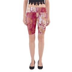 Bamboo Tree New Year Red Yoga Cropped Leggings