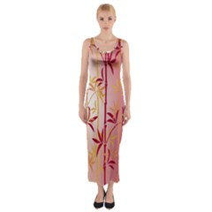 Bamboo Tree New Year Red Fitted Maxi Dress