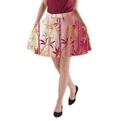 Bamboo Tree New Year Red A-Line Pocket Skirt