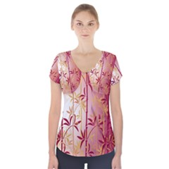 Bamboo Tree New Year Red Short Sleeve Front Detail Top