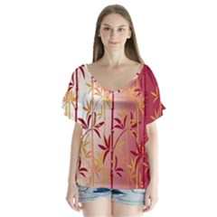 Bamboo Tree New Year Red Flutter Sleeve Top