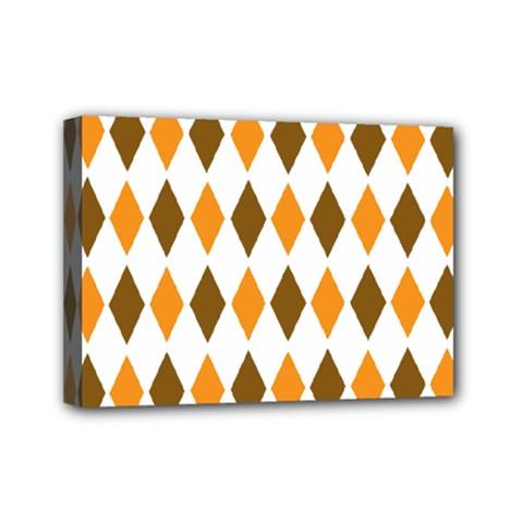 Brown Orange Retro Diamond Copy Mini Canvas 7  x 5