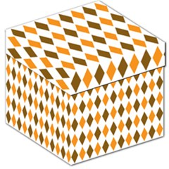 Brown Orange Retro Diamond Copy Storage Stool 12