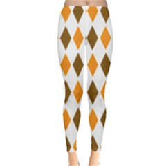 Brown Orange Retro Diamond Copy Leggings