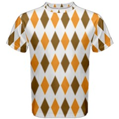 Brown Orange Retro Diamond Copy Men s Cotton Tee