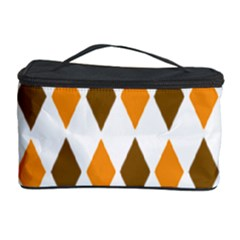Brown Orange Retro Diamond Copy Cosmetic Storage Case