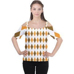 Brown Orange Retro Diamond Copy Women s Cutout Shoulder Tee