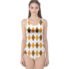 Brown Orange Retro Diamond Copy One Piece Swimsuit