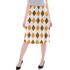 Brown Orange Retro Diamond Copy Midi Beach Skirt