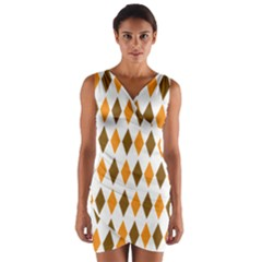 Brown Orange Retro Diamond Copy Wrap Front Bodycon Dress