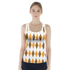 Brown Orange Retro Diamond Copy Racer Back Sports Top