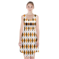 Brown Orange Retro Diamond Copy Racerback Midi Dress