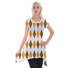 Brown Orange Retro Diamond Copy Short Sleeve Side Drop Tunic