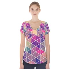 Chevron Colorful Short Sleeve Front Detail Top