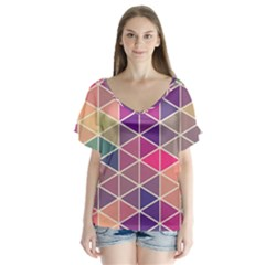 Chevron Colorful Flutter Sleeve Top