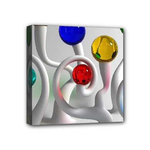 Colorful Glass Balls Mini Canvas 4  x 4