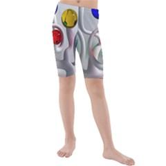Colorful Glass Balls Kids  Mid Length Swim Shorts