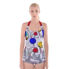 Colorful Glass Balls Boyleg Halter Swimsuit