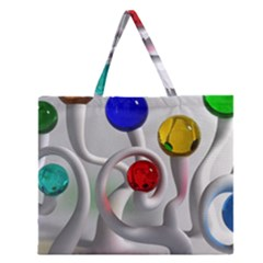 Colorful Glass Balls Zipper Large Tote Bag