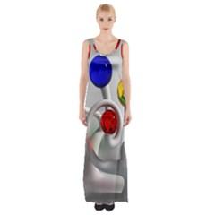 Colorful Glass Balls Maxi Thigh Split Dress