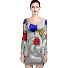 Colorful Glass Balls Long Sleeve Velvet Bodycon Dress