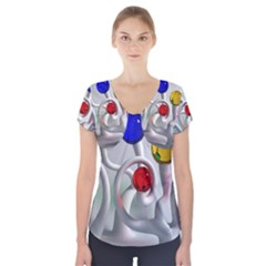 Colorful Glass Balls Short Sleeve Front Detail Top