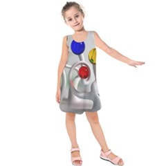 Colorful Glass Balls Kids  Sleeveless Dress
