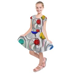 Colorful Glass Balls Kids  Short Sleeve Dress