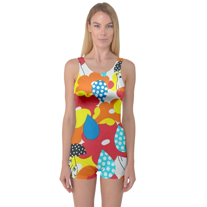 Bear Umbrella One Piece Boyleg Swimsuit