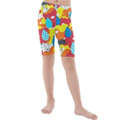 Bear Umbrella Kids  Mid Length Swim Shorts